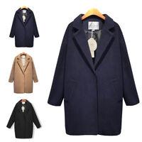 Womens Thicken Warm Winter Wool Trench Coat Parka Overcoat Long Jacket Outwear