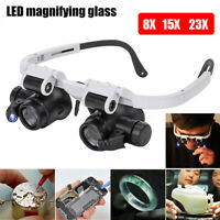 23X Magnifying Magnifier Eye Glass Loupe Jeweler Watch Repair  w/ith LED #