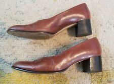 Vintage 1960s Brown Italian Leather Etienne Aigner Heels Size 9 1/2 M