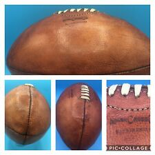 Original 1940's Mark Cross Co. Brown Leather Rugby Ball Football Made in England