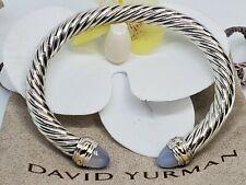 David Yurman  Sterling Silver 7mm W/ blue Chalcedony  &14K gold bracelet Sz M