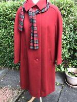 Eastex Vintage Burgundy Wool Coat  Long UK 14 -16 Teddy Bear Tartan Check Scarf