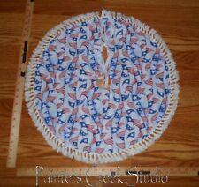 "Flag Pennant Americana Handmade Mini Tree Skirt,21"" dia,Flags,patriotic,July 4th"