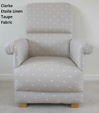 Clarke Etoile Linen Fabric Adult Chair Stars Beige Biscuit Armchair Nursery New