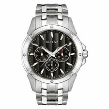Bulova Mens 96C107 Dress Chrono Black Dial Stainless Steel Bracelet Quartz Watch