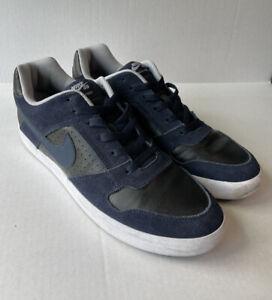 Nike SB Size 11 Delta Force Vulc Dunk Low Black/Navy Suede 942237-440 Obsidian