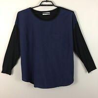 Michael Kors Womens Blouse Blue Black Plus Size 2X 3X L/S Pocket Casual
