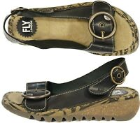 Fly London Womens Shoes Size-38 uk-5 Tram Low Wedge Leather Sling Back Sandals