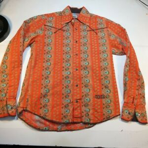 CINCH JEANS WESTERN COWBOY COLORFUL RODEO SNAP UP SHIRT Sz Mens XS