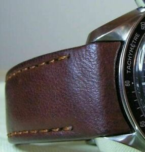 Hirsch MEDICI CURVED ENDED Leather Watch Strap Bracelet in BROWN 18mm