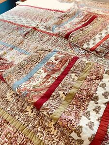 """Pottery Barn Providence Paisley Patchwork Full Queen Bed Quilt 90x86"""" & 2 Shams"""