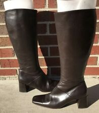 Ann Taylor Womens Brown Leather Riding Knee High Boots Size 7.5 M