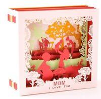 3D Pop Up Greeting Mom I Love You Flower Carnation Mother Card