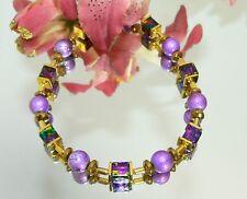 Armband Würfel marmoriert lila türkis blau gold Perlen lila Hämatit 495d