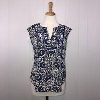 Daniel Rainn Women's Sheer Floral Top Sleeveless Blue White Size XS