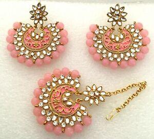Gold Bridal Maang Tikka Earring Bollywood KUNDAN Indian Pearl Polki Wedding Set