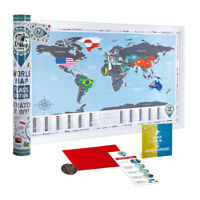 BIG SILVER SCRATCH OFF TRAVEL WORLD MAP FLAGS EDITION MAP PUSH PIN WALL POSTER