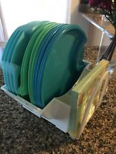 Pampered Chef 12 Plates #2823 Picnic Patio Set & Caddy Mint! Ships Fast!