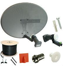 COMPLETE MK4 SATELLITE DISH KIT + SKY HD QUAD LNB & 5M TWIN BLACK COAX CABLE