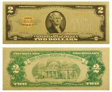 USA $2 ONE US DOLLAR 1928 GOLD CERTIFICATE COLOURED BANKNOTE GOLD 24K NEW MINT