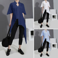 UK Women Short Sleeve High Low Tops Ladies Basic Shirt Casual Plain Blouse Tee