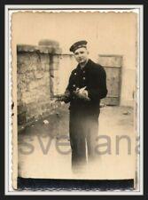 Pigeon post Sailor Bird Dove Handsome military man guy Cap Curious vintage photo