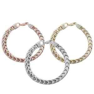 "18K Gold Micro Pave Franco Cubic Zirconia .925 Sterling Silver Bracelet 8.5"""