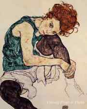 Young Girl Sketch Art - Sitting Woman Bent Knee by Egon Schiele  8x10 Print 0266