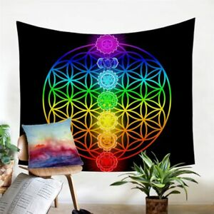 Chakra Zen Flower Of Life Wall Tapestry Hanging Throw Cover Home Room Decoration