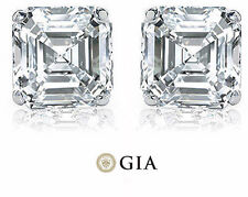 2.00 ct Asscher Cut Diamond 14k white gold Stud Earring GIA H color VS1 clarity