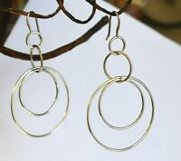 Silpada retired STERLING Earrings W1237 Space Out Dangle Double Circle Drop