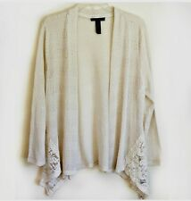 Style & Co Open Front Light Cardigan Top Lace Trim Asymmetric Tan Cream Medium M