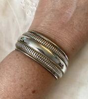 Vtg Wide Sterling Cuff Bracelet 44 Grams .999