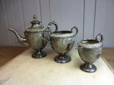 Antique silver plated engraved 3 piece teaset teapot milk jug sugar bowl