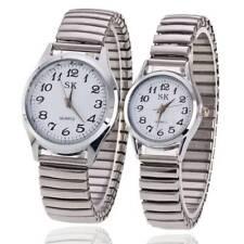Luxury Elastic Stainless Steel Wristwatch Quartz Women Men Watches  For Couples