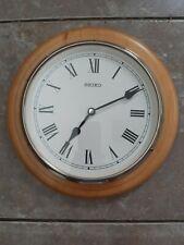 Seiko Round Wooden Wall Clock - Analogue Quartz