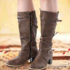 Women's Mid-calf Boots Retro Cross Strap Buckle Shoes Block Mid Heel Side Zip