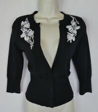 White House Black Market S cardigan top embroidered