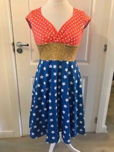 Wonder-woman Inspired Star Print Ladies Wrap Front Dress, Cosplay Superhero 8-20