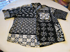 Mens Bon Homme New York L 16 16 1/2 black wht short button up shirt casual EUC@