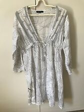 Feijoa Aotearoa Slightly Sheer Beach Dress SiZe L 10-12 White Black Floral Leafy