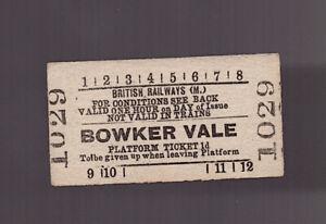British Railways (Midland Region) Platform Ticket - Bowker Vale