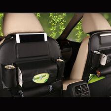 Car Seat Back Bag Organizer Storage iPad Phone Holder Multi-Pocket Black Leather