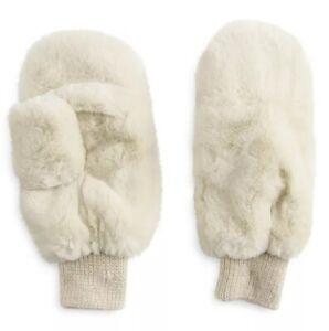 Women's Lauren Conrad Faux Fur Mittens Gloves - Ivory