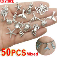 50Pcs/lot Mixed Tibetan Silver Charm Ocean Pendants Beads DIY Jewelry Findings