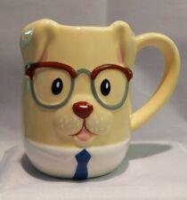 TAG DOG MUG ~ 3D FIGURAL DOG COFFEE MUG ~ DOG IS WEARING GLASSES & A TIE ~