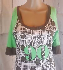 Roxy Women's Blouse Green Brown Polka Dot Size Medium
