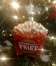 New Blown Glass Christmas Ornament Natural Cut French Fries Red/Yellow Food NWT