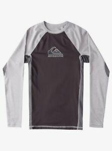 Quiksilver Big Boys Youth L/14 Long Sleeve UV Rash Guard Backwash Sleet Gray