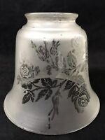 Antique Gas Frosted / Etched Glass Shade Oil Lamp Shade Vintage 2-1/4 Victorian